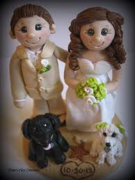 Wedding Cake Topper Bride And Groom With Two Dogs Personalized