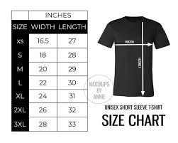 Bella Canvas 3001 Unisex Premium Short Sleeve T Shirt Xs 3xl Size Chart Printful Tee Guide Mockup Jpeg Download