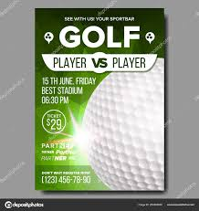 Golf Invitation Template Golf Poster Vector Sport Event Announcement Banner Advertising