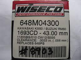 Wiseco Piston Clearance Chart Wiseco Piston Kit Kawasaki Kx60 Suzuki Rm60 648m04300