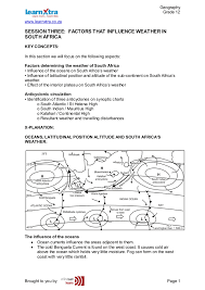 Weather Sa Synoptic Chart Session Three Factors That Influence Weather In
