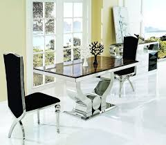 dining room long white marble dining table top combine black leather dining chairs over glass