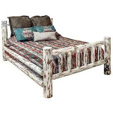 Details about Amish Made QUEEN Log Bed Frame Rustic Beds Montana Lodge Cabin Furniture