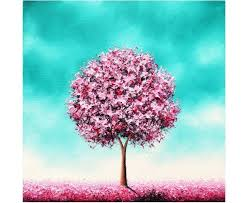 original oil painting cherry blossom tree painting pink tree landscape painting impasto heavily textured contemporary wall art 10x10