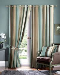 brown living room curtains. Extraordinary Living Room Curtains Brown Cream Blue Stripes Grey Wooden Frame Red Color Armchair Dark Rug Wall R