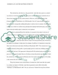 Common Law Essay Common Law And The Doctrine Of Privity Essay Example Topics And