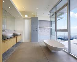 bathroom alluring modern bathroom design with white spoon bath tub also sliding glass windows featuring alluring bathroom sink vanity cabinet