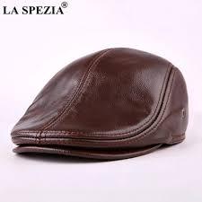 <b>LA SPEZIA</b> Classic Beret Caps Men Warm <b>Genuine Leather</b> Caps ...