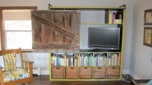 expedit bookshelf turned rustic tv cabinet bookshelf