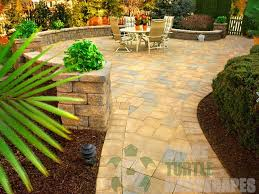 outdoor living segmental walls portland pavers patio pillars and lighting