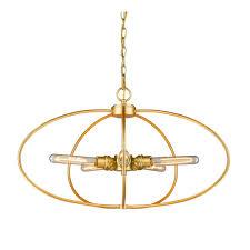 privet 5 light satin gold pendant