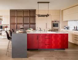 Beautiful Modern Kitchen With Red Island In Washington, D.C.