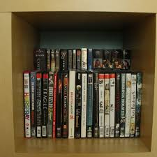double dvd storage space by placing a raised shelf in the back of a bookcase