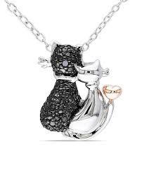 black diamond sterling silver cat