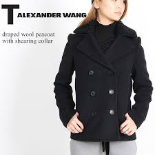 t by alexander pea coat tea by alexander one dd wool peacoat with shearing collar wool coat jacket lady s 403512f16 black