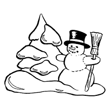 Small Picture Traditional Winter Season Scene with Mr Snowman Coloring Page