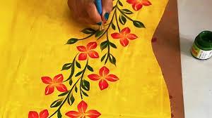Free Painting Designs Diy Free Hand Painted Panel Design On Kurti Sarees Tops Fabric Painting