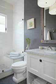 Check out this neutral gray bathroom with white board and batten. Love this  One Room