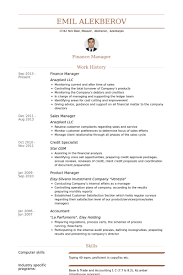 Finance Manager Resume samples