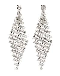 silver clip on earrings chandelier earring with clear crystals cami