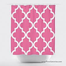 studios scalloped shower curtain large white on hot pink by crystal emotion b074frbpn3