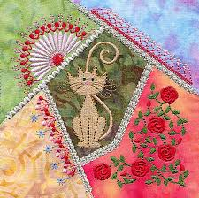 Crazy Gorgeous: 18 Crazy Patchwork Embroidery Designs & Crazy quilt cat block by Molly Mine Adamdwight.com