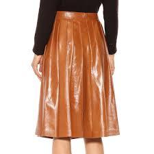 pleated midi leather skirt