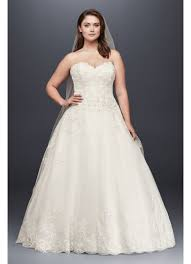 beaded lace and tulle plus size wedding dress david s bridal