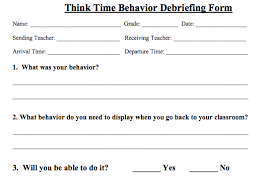 debriefing form example think time