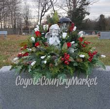 Cemetery Christmas Tree With Lights Winter Headstone Saddle With Solar Light Flowers For