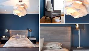 Bedroom Simple Modern Master Design Idea With Gray Bed Dark Blue ...