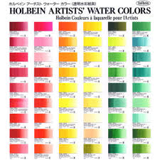 Watercolor Chart Winsor Newton Holbein Watercolor Printed Color Chart