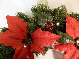 Poinsettia Christmas Tree Lights Uk 56cm Large Christmas Artificial Poinsettia Wreath With Led