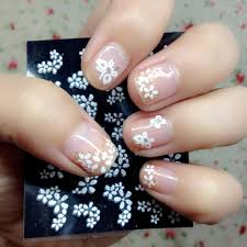 30 Sheets Floral Design 3d White Nail Art Stickers Decals Manicure ...