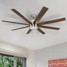 Hunter Fan And Light Remote Control Honeywell Xerxes Brushed Nickel Led Remote Control Ceiling Fan 8 Blade Integrated Light 62 Inch