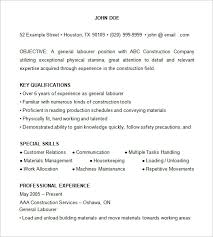 Sample Construction Resume 21 Construction Laborer Resume