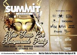 summit presents new years eve masquerade party at summit grill and skybar menlyn on sunday