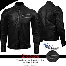 Zipper Pocket Men's Slimfit Quilted Biker Leather Jacket & Double Zipper Pocket Men's Slimfit Quilted Biker Leather Jacket Adamdwight.com