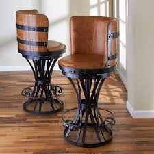 Tequila Barrel Stave Stool with Leather Seat - Wine Enthusiast