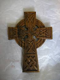 wood celtic cross in solid wood