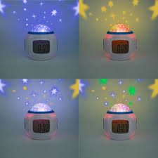 geree star led clock children sky star night light projector lamp bedroom alarm clock with for kids gift
