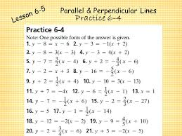 point slope form writing linear eq 21 parallel perpendicular lines