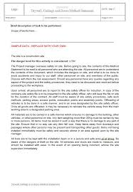 Method Of Statement Sample New Drywall Ceilings And Doors Method Statement