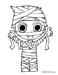 Print Out Halloween Kid Mummy Coloring