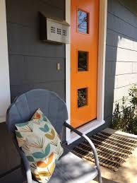 modern front door orange. Midcentury Exterior Design With Orange Front Door Modern D