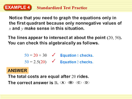 example 4 standardized test practice notice that you need to graph the equations only in the
