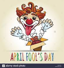 Happy April Fool's Day Illustration. Toy Clown springing out of a box.  Vector illustration in cartoon style Stock Vector Image & Art - Alamy