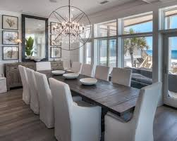 gray and white dining room ideas. mid-sized coastal dark wood floor dining room photo in miami with white walls gray and ideas