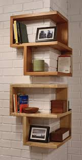 Home Organization:Space Saving Home Office Design With Wall Mounted Wood  Corner Bookshelf And Modern