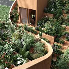 rooftop vegetable garden in stan yin yang house with a on the roof